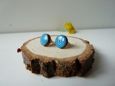 Hand painted blue post earrings, Wooden jewelry, wooden earrings, wood post earrings, silver ear posts , gift for her, minimalist jewelry Jewelry  Earrings  Stud Earrings  wooden earrings  earrings  wood earrings  studs  wood studs  round studs Hand painted wood  sterling silver post  hand painted jewelry  gift for her  resin studs  stud earrings