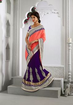 Purple and Tomato Net Butta Work Half N Half Lehenga Saree   34301