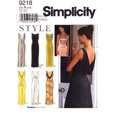 Low Back Evening Gown Pattern Simplicity 9218 Draped Back Dress Womens Size 6 to 16 UNCUT - product images  of
