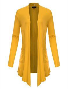 5ef54d9fd877f BILY Womens Asymmetrical Front Long Sleeve Front Pockets Drape Cardigan  Mustard XLarge     Look