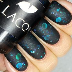 black, solar system nails- low luster