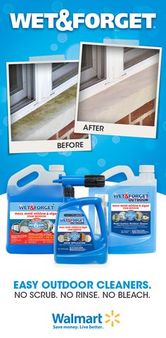 Just Spray And Forget with Wet And Forget, Clean Any Exterior Surface. Diy Home Cleaning, Household Cleaning Tips, Green Cleaning, House Cleaning Tips, Diy Cleaning Products, Cleaning Solutions, Spring Cleaning, Cleaning Hacks, Cleaning Supplies