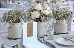 white carnation and babys breath - Google Search