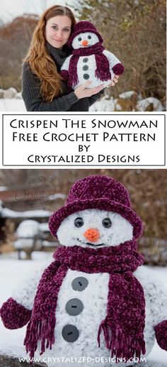 Crispen the Snowman Free Crochet Pattern - Crystalized Designs Crochet Gifts, Crochet Toys, Free Crochet, Knit Crochet, Crochet Snowman, Crochet Ornaments, Crochet Snowflakes, Santa Ornaments, Crochet Christmas Decorations