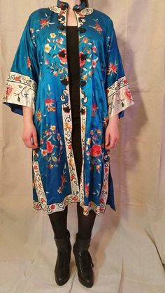 9cb77ce02d Golden Bee Chinese blue silk embroidered jacket by TangibleGrooves