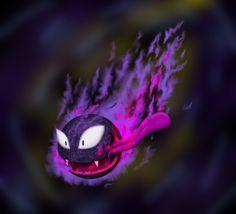 Fan Art Pokemón - Gastly. Fan Art Pokemon, Photoshop, Illustrations, Drawings