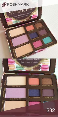 Too Faced Sugar Pop Too Faced Sugar pop palette. Give eyes a pop of sugary shimmer and creamy mattes with this French macaron inspired palette of nine sweet shades of vanilla, chocolate, and candy colored hues for eyes that sparkle and pop. Brand new with box and glamour guide. Too Faced Makeup Eyeshadow