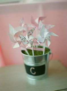 Alternative Ideas for Wedding Centerpieces. I like the pin wheels