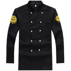 Chef Uniform Chef Wear Long Sleeved Hotel Chef Wear Embroidered Dragon Restaurant Chef Coverall Summer Hotel Work Wear