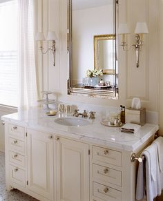 Vanity inspiration photo for Chase bathroom. Cabinet design, the placement of the hand towels, Medicine Cabinet Bathroom Renos, White Bathroom, Bathroom Renovations, Small Bathroom, Bathroom Ideas, Feminine Bathroom, Bathroom Pics, Bathroom Sconces, Ikea Bathroom