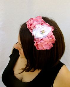 Pink and White Satin Flower Headband Bridal by RuthNoreDesigns, $18.00