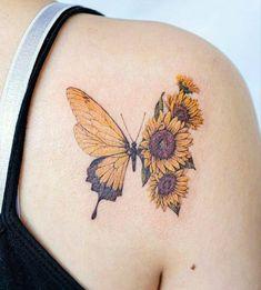 Butterfly With Flowers Tattoo, Sunflower Tattoo Small, Sunflower Tattoos, Sunflower Tattoo Design, Best Friend Tattoos, Mom Tattoos, Cute Tattoos, Body Art Tattoos, Small Sister Tattoos