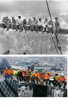 Lunch atop a Skyscraper  is a famous black-and-white photograph taken during construction of the RCA Building (renamed the GE Building in 1986) at Rockefeller Center in New York City, United States. Below is a picture of  construction workers who recreated the classic photo in 2011 by posing on a girder 800ft above London.: