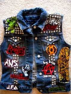 SKATE PUNK! The colors on this one kick ass. All stenciled, fools. #punk #patches # vest