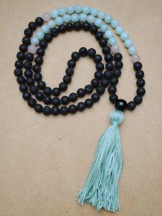 Lava Stone Amazonite and Rose Quartz Mala Necklace Yoga Jewelry Meditation Beads by theMalaSphere on Etsy
