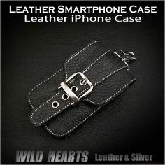 Leather iPhone Smartphone Cellphone Case Black/WILD HEARTS leather & silver http://item.rakuten.co.jp/auc-wildhearts/cc1853r40/
