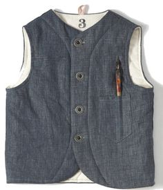 linen mason vest inspired by vintage workwear of the 1930's