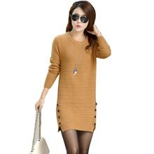 2016 New Spring Women Knitted Dress Desigual O-Neck Loose Long Sleeve Split Sweater Dress Casual Pullover Vestidos Femininos(China (Mainland))