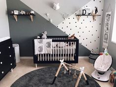 babyletto on Instagram: this monocrome▪️man cave is a beaut!  • #babyletto Lolly crib | Lolly changer dresser in black & washed natural • : designed by mama Ashley Piowlski