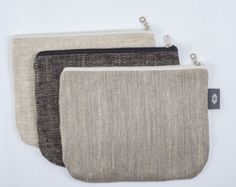 Large Grey Cosmetic Case, Natural Linen Canvas Makeup Bag, Foldover Clutch, Pouch Bag, iPad Case, Laptop Case, Clutch Bag, iPad mini case