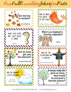 Fall Lunch Box Jokes for Kids Do your kids need a little laugh at lunch time? Grab these funny free printable Fall Lunch Box Jokes for Kids and put one in their lunch! They make life fun! School Jokes, School Fun, School Lunches, Kid Lunches, School Ideas, Activities For Kids, Crafts For Kids, Autumn Activities, Funny Jokes For Kids
