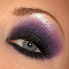 Silver glitter and blue liner