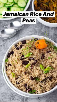 Rice Recipes Vegan, Pea Recipes, Vegan Foods, Vegetarian Recipes, Cooking Recipes, Healthy Recipes, Jamaican Rice, Jamaican Recipes, Caribbean Food