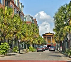 A view down Market Street in Charleston, South Carolina.