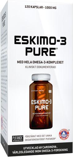 Eskimo-3 Pure kalaöljykapseli sisältää runsaasti omega-3 rasvahappoja. Omega-3 rasvahapot EPA ja DHA edistävät sydämen normaalia toimintaa. Sydämelle edullinen vaikutus saavutetaan nauttimalla päivittäin 250 mg EPA ja DHA rasvahappoja. Eskimo-3 Pure on Friend of The Sea -sertifioitu, eli se täyttää ympäristöystävällisten kalastus- ja tuotantomenetelmien käytön vaatimukset. Luonnollista, käsittelemätöntä kalaöljyä. - Eija Omega 3, Finland, Pure Products
