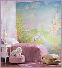 storybook castle mural. Welcome to a land of enchantment, where unicorns eat golden apples, water nymphs blow rainbow bubbles, and dragons romp and roam through the misty mountains. magical fairy and unicorn theme, castle style princess bedroom.