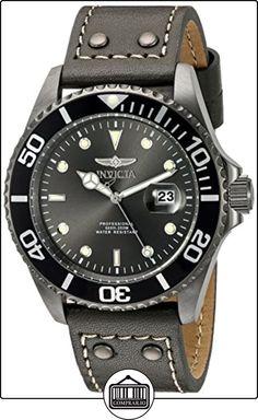 Invicta 22077- Reloj de pulsera analógico de acero inoxidable, redondo, dial de cristal, correa negra de  ✿ Relojes para hombre - (Gama media/alta) ✿
