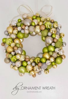 Metallic and Lime Ornament Cluster Wreath