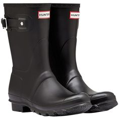 Women's Hunter Original Short Wellington Boots ($88) ❤ liked on Polyvore featuring shoes, boots, short rain boots, tall rubber boots, slip on rubber boots, short boots and rain boots