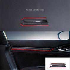 6X Black Carbon Fiber ABS+Red Dashboard Stripe For Honda CIVIC 2016 2017 2018
