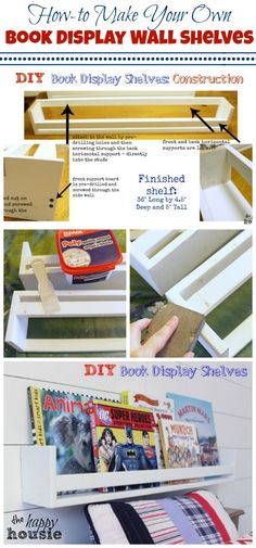 How to Make Your Own Book Display Wall Shelves collage tutorial at the happy housie
