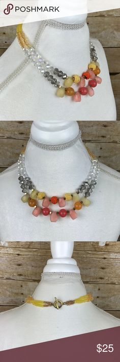 Anthropologie • Bright Beaded Statement Necklace Super cute. Great condition Anthropologie Jewelry Necklaces