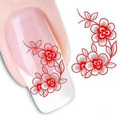 Nail Stickers Nail Art Water Transfers Stickers Red by eArtStore