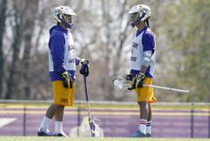 Miles Thompson (left) and his brother Lyle Thompson of New York are finalists for the Tewaaraton Award, college lacrosse's equivalent of the...