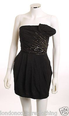 PAPAYA  METAL DETAIL BODICE LINED BOX PLEATS POCKETS STRAPLESS DRESS SZ S JUNIOR