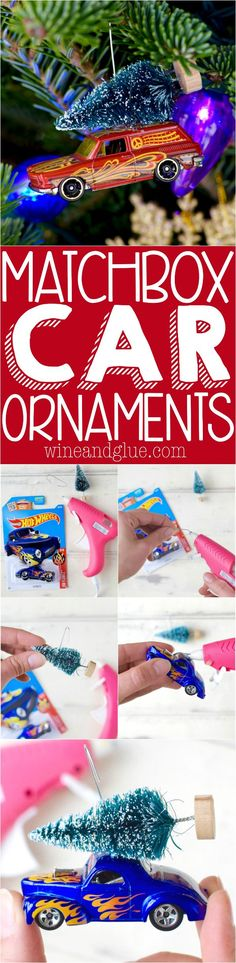 These Matchbox Car Ornaments are crazy simple to make and so cute! Perfect for gifting or keeping!
