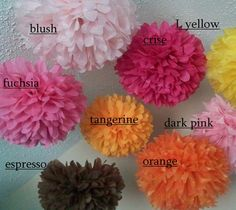 Party paper pom poms / Party decorations / Hanging flowers. Set of 5 poms