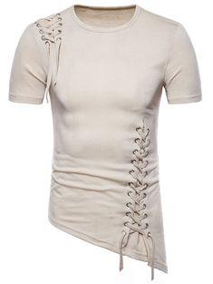 Asymmetric Slant Hem Criss Cross T-shirt - BLANCHED ALMOND M