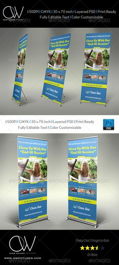 Cleaning Services Signage Roll Up Banner Template PSD. Download here: http://graphicriver.net/item/cleaning-services-signage-roll-up-banner-template/5861191?s_rank=441&ref=yinkira