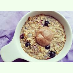 Baked oats topped with #coconutter via @healthychickfit