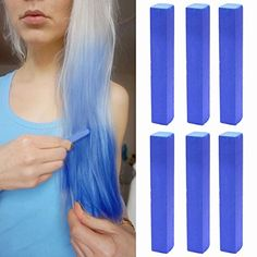 Crazy Blue Hilary Duff Hair Color  AQUAMARINE BLUE Vibrant Hair Color  With Shades of Aquamarine Blue Set of 6 Temporary Vibrant Hair Color  Color your Hair Crazy Vivid Blue in seconds with temporary HairChalk * Continue to the product at the image link.