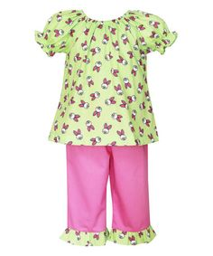 Look what I found on #zulily! Yellow & Pink Bunny Top & Capri Pants - Girls by Velani Classics #zulilyfinds