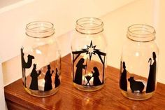 Beautiful vinyl nativity scene for mason jars. Makes a really nice glow at night with a candle inside. Christmas Nativity Scene, Nativity Crafts, Christmas Art, Christmas Projects, Simple Christmas, Holiday Crafts, Christmas Holidays, Christmas Ornaments, Nativity Scenes