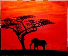 Coucher de soleil sur la savane avec éléphant (pour une commande)