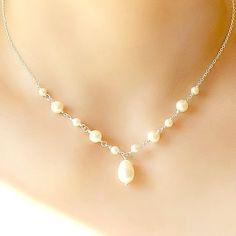Perlenkette Braut Halskette Brautschmuck von StarringYouJewelry