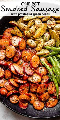 Spicy smoky and savory Smoked Sausage with Potatoes and Green Beans cooks up in one skillet in less than 30 min. Its a perfect weeknight dinner idea! Sausage Recipes For Dinner, Smoked Sausage Recipes, Spicy Sausage, Pork Recipes, Healthy Dinner Recipes, Healthy Sausage Recipes, Smoked Sausage Potatoes Recipe, 30 Min Healthy Meals, Recipies